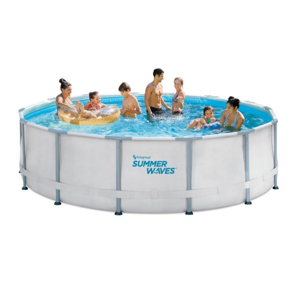 Summer Waves® 14′ x 42″ Elite Frame Pool with Filter Pump, Cover, and Ladder